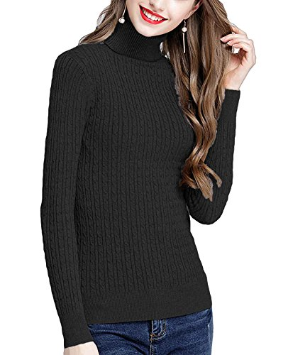 t Ribbed Cable Stretchy Fit Knit Turtleneck Sweater Black M ()