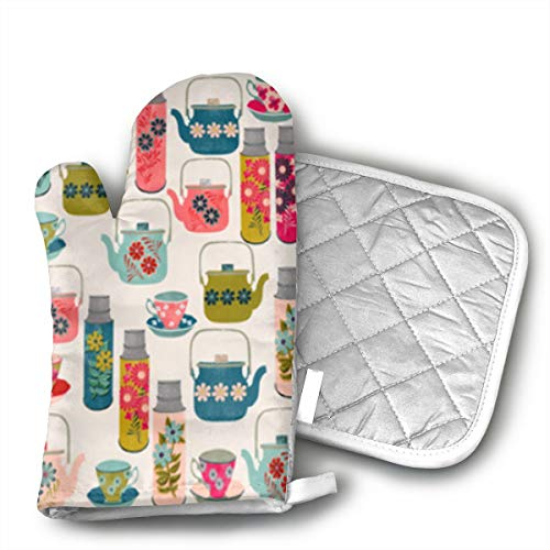 HEPKL Oven Mitts and Potholders Retro Style Flower Non-Slip Grip Heat Resistant Oven Gloves BBQ Cooking Baking Grilling
