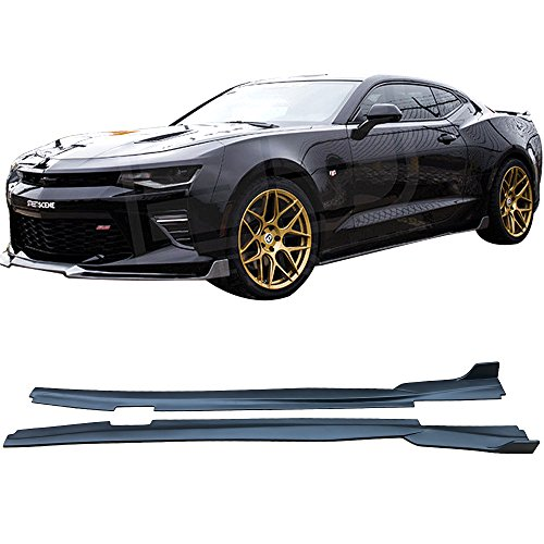 Side Skirts Fits 2016-2019 Chevy Camaro | IKON Style Black PP Side skirt Rocker Moulding Air Dam Chin Diffuser Bumper Lip Splitter by IKON MOTORSPORTS | 2017 2018 ()