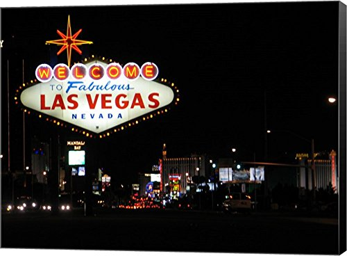 Welcome to Vegas Sign Canvas Art Wall Picture, Museum Wrapped with Black Sides, 22 x 16 inches