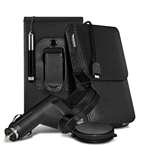 Nokia Lumia 610 Protective PU Leather Pouch Belt Holster Flip Case Cover Holder With Retractable Stylus Pen, Micro 12v USB car charger & 360 Rotating Windscreen Car Holder Cradle Black by Spyrox