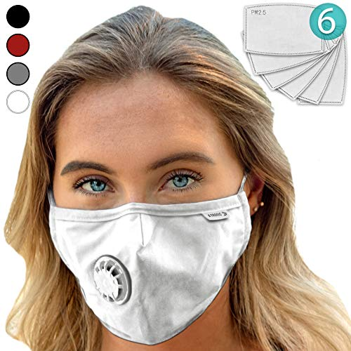 Face Mask: Best Air Pollution UNIVERSAL FIT Dust Masks + 6 N99 Filter. Carbon Respirator & DustProof Safety Cover Mouth from Gas Exhaust Smoke, Pollen, Paint. Cycling Running For Women Men Kids (WHT)]()