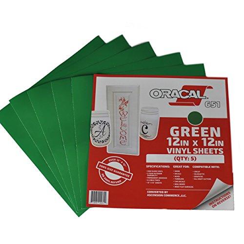 [해외](5), (10) 또는 (25) 12 x 12 매 - Oracal 651 녹색 접착제 크래프트 비닐 (Cricut, Silhouette, Cameo, Craft Cutters, Printers 및 Decals 용) -