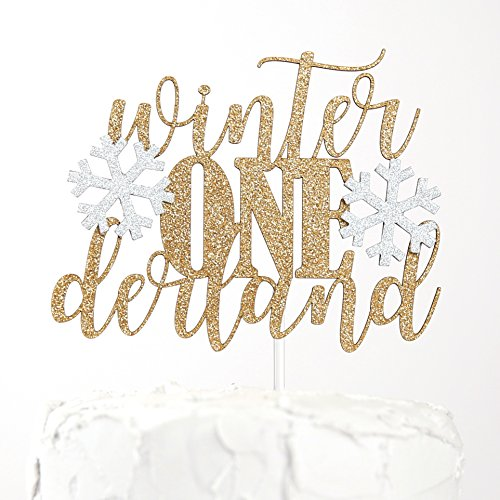 NANASUKO Cake Topper - Winter ONEderland - Double Sided Gold Glitter with Light Silver Snowflakes - Premium Quality Made in USA
