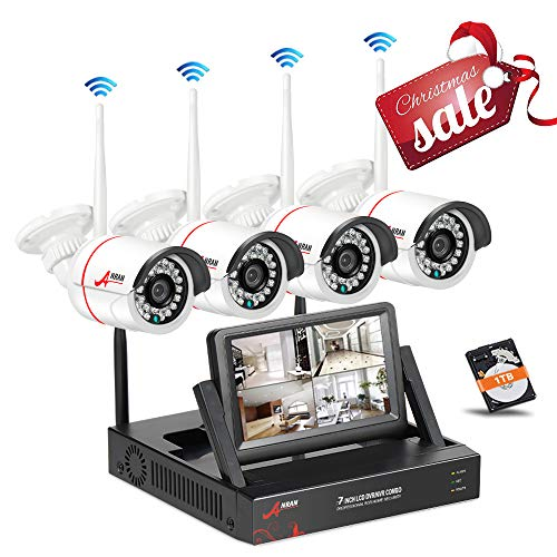 - Security Camera System Wireless, Wireless Surveillance Camera System ANRAN 4Channel with 7Inch Monitor NVR with 960p HD Wireless IP Camera Night Vision,Plug and Play,Easy Remote Access, No Hard Drive