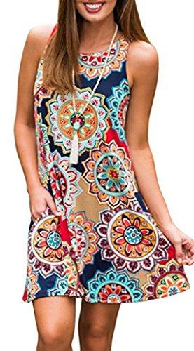 - Summer Beach Dresses for Women Tshirt Sundresses Boho Casual Sleeveless Floral Shift Pockets Swing Loose Damask Navy Blue1 Medium