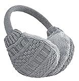 Knolee Unisex Knitting EarMuffs Faux Furry Earwarmer Winter Outdoor EarMuffs,Gray