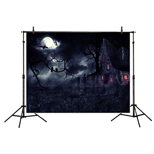 Funnytree 7x5ft Halloween Backdrop for Photography Party Decoration Haunted House Dark Night Pale Moon Cemetery Gloomy Wizard Twisted Trees Polyester Background Photobooth Photo Studio Props