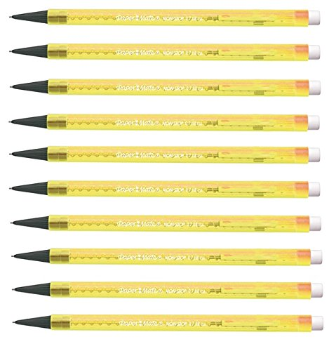 Papermate Non Stop Mechanical Pencils Neon Yellow - Pack 10 Newell Rubbermaid