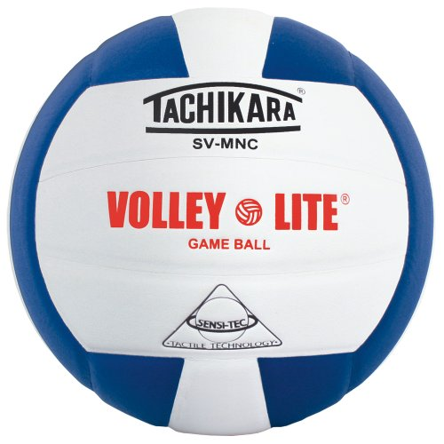 Tachikara SV-MNC Volley-Lite volleyball with Sensi-Tech cover, regulation size but lighter (royal/white).