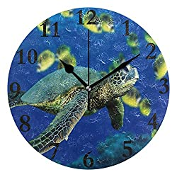 FunnyCustom Round Wall Clock Awesome Sea Turtle Acrylic Creative Decorative for Living Room/Kitchen/Bedroom/Family