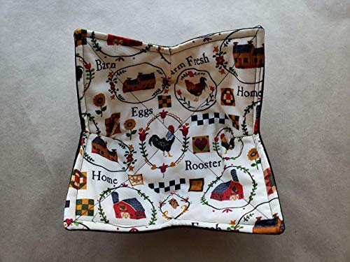 Farm House Microwave Bowl Cozy Rooster Reversible Microwaveable Potholder Country Home Bowl Holder Farmhouse Eggs Barn Chickens Quilt Block Table Linens Bowl Buddy Rustic Decor Handmade Gifts Under 10