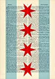 Chicago Flag Stars Printed on Dictionary Paper