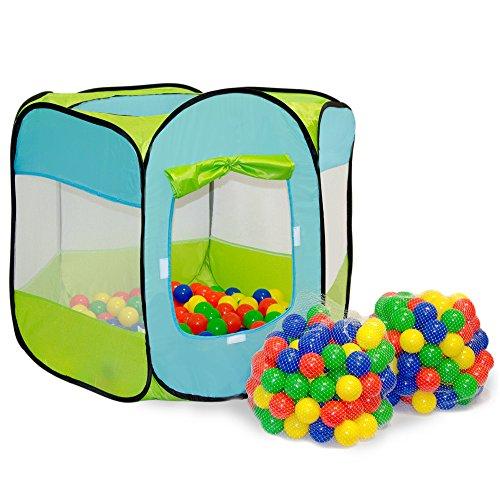 Spielset Kinderspielzelt Elliot inkl. 200 Bällebadbällen | Spielzelt Spielhaus für Jungen und Mädchen | Kinder-Bällebad-Zelt mit Spielbällen | inkl. Tragetasche