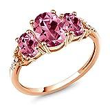 10K Rose Gold 3-Stone Diamond Accent Ring 8x6mm Set w/ Pink Topaz from Swarovski