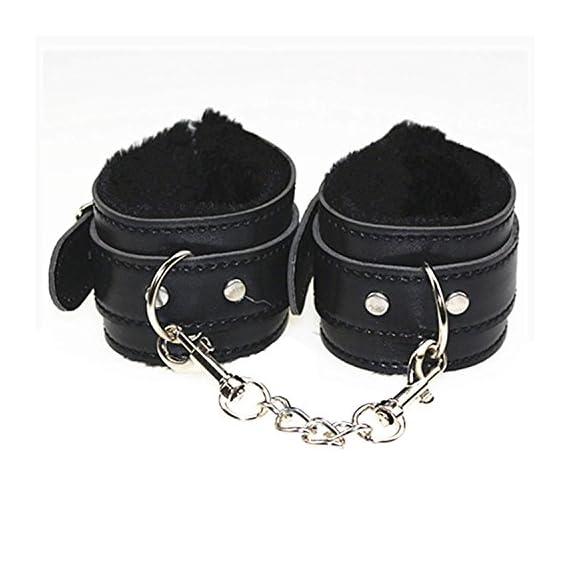 Dovior Soft Fur Leather Handcuffs Adjustable Black