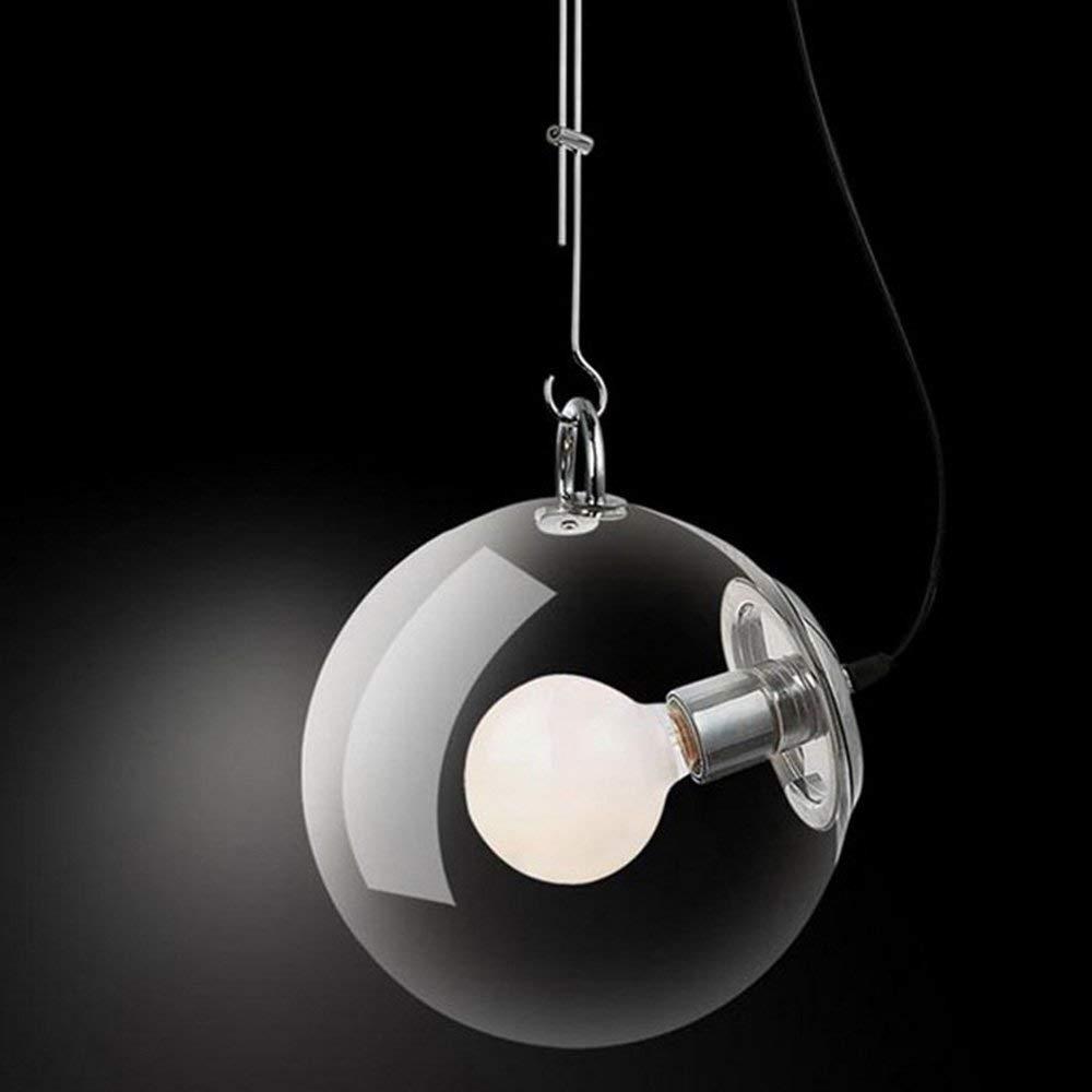 FXING Einfach und Modern Eisen Lampe Körper Glas Lampenschirm E27 Kronleuchter (25 30 33  74 cm, einstellbare Stange 47-74 cm) A+ (Größe  30 cm).