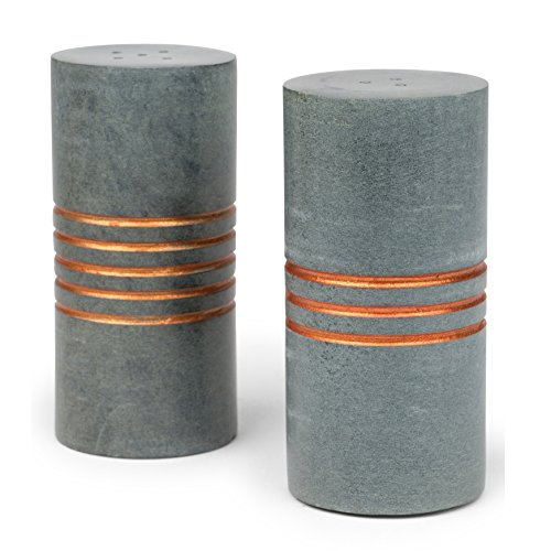 (Carved Stone Cylinder Salt And Pepper Set 'Salt & Pepper Stone Shakers')