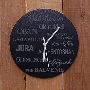 Redondo Pizarra Reloj whisky diseño - Láser Grabado - Un ...