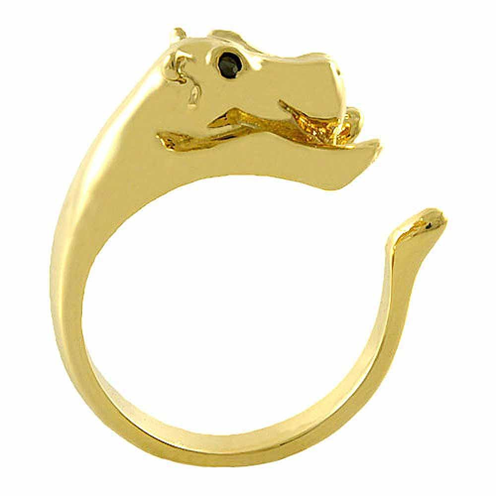 Ellenviva Enhanced Hippo Animal Wrap Ring Gold-Plated Shiny Gold Tone