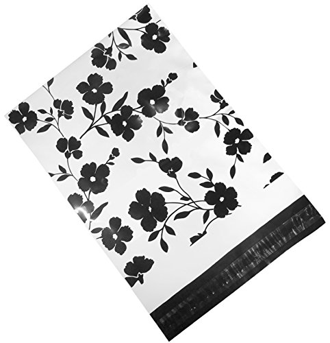 100 Printed Poly Mailers 10x13 Black Floral Colored Shipping Envelopes Plastic Mailing Bags by Inspired Mailers (Mailing & Shipping Supplies)