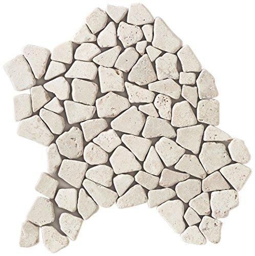 Dal-Tile T720PEBBLETS1P Travertine Tile Baja Cream Pebble Mosaic x 17 3/4