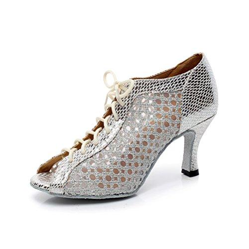 BCLN Womens Open toe Sandals Latin Salsa Tango Heels Practice Ballroom Dance Shoes with 2.75 Heel Silver