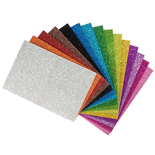 Peachy Keen Crafts - 15 Pack Self Adhesive Glitter Foam Paper Sheets - Assorted Colors - Perfect for Kids Art Projects and - Holiday Glitter