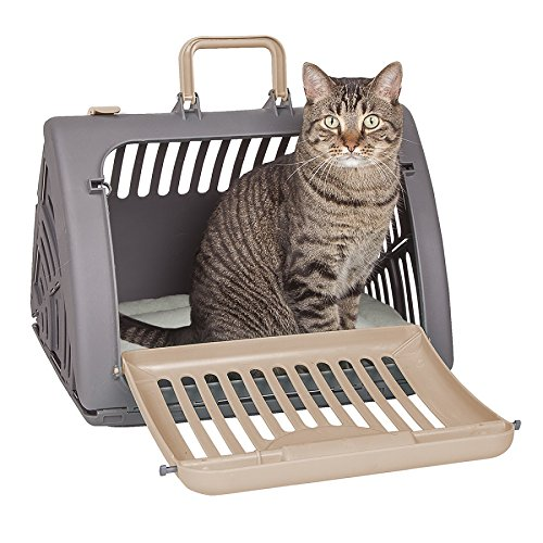 SportPet Designs Foldable Travel Cat Carrier - Front Door Plastic Collapsible Carrier