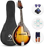 Vangoa A Style Mandolin Instrument, Sunburst Acoustic Mandolin for Beginners with Tuner, Strings, Gig Bag, Pic