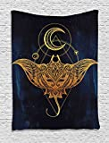 Ambesonne Psychedelic Tapestry, Mystic Alchemy Symbol Hidden Sign of Universe Holy Science Artful Image, Wall Hanging for Bedroom Living Room Dorm, 40 W x 60 L Inches, Petrol Blue Yellow