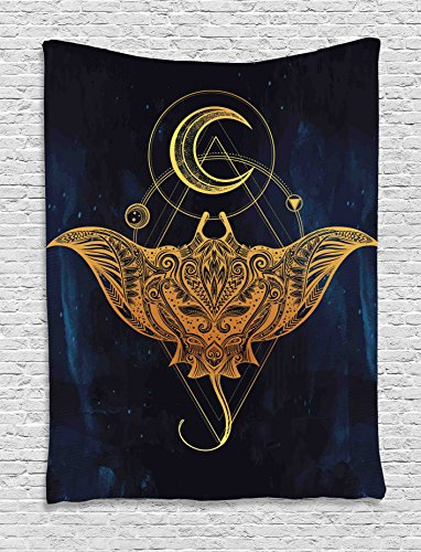 Ambesonne Psychedelic Tapestry, Mystic Alchemy Symbol Hidden Sign of Universe Holy Science Artful Image, Wall Hanging for Bedroom Living Room Dorm, 40 W x 60 L Inches, Petrol Blue Yellow by Ambesonne