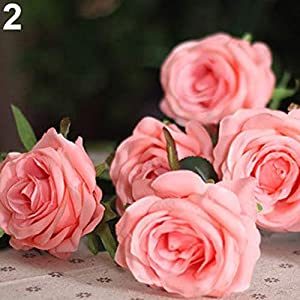 MARJON Flowers1Pc 1 Head Lifelike Artificial Faux Silk Rose Fake Flower Wedding Bridal Decor for Wedding for Baby Boys or Girls Room Dark Pink 62
