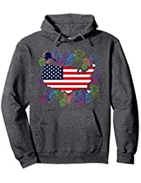 Flag United States Map with Fireworks Hoodie
