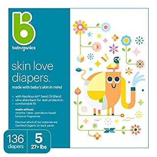 Diapers, Size 5, 136 ct, Babyganics Ultra Absorbent Diapers, Packaging May Vary