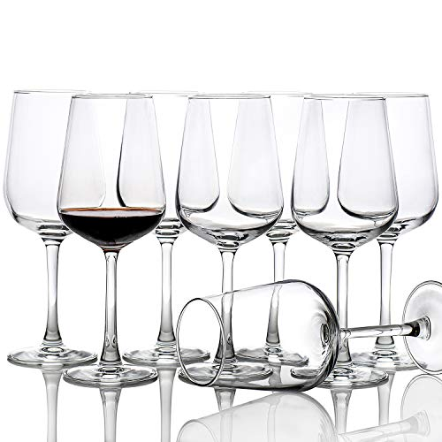 15-Oz Red White Wine Glasses Set of 8, Long Stem Clear Party Simple Wine Cups, Wedding Party Glassware