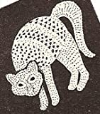 Vintage Crochet PATTERN to make - Cat Motif Halloween Crocheted Applique. NOT a finished item. This is a pattern and/or instructions to make the item only.