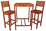 Zen Garden Eucalyptus 3-Piece Bar Set with Bar Table and 2 Bar Chairs, Natural Wood Finish Review