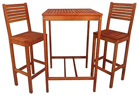 Zen Garden Eucalyptus 3-Piece Bar Set with Bar Table and 2 Bar Chairs, Natural Wood Finish