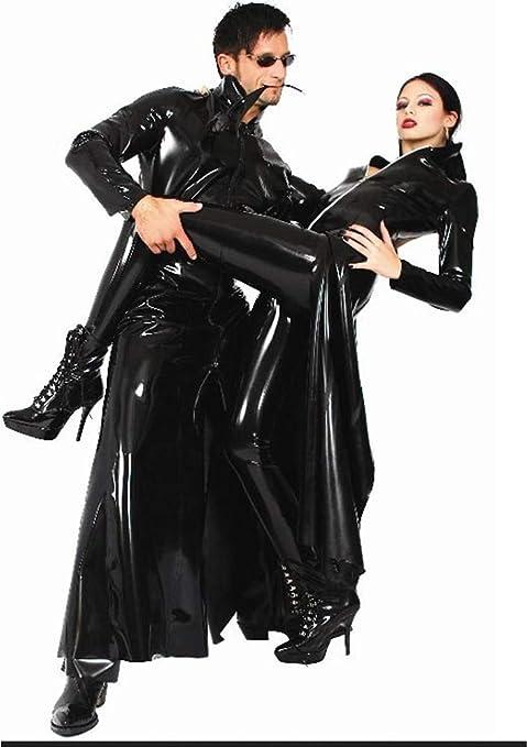 JOPLEC Sexy Hombre Mujer Latex Wet Look PVC Gabardina Larga Traje ...