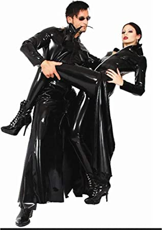 JOPLEC Sexy Hombre Mujer Latex Wet Look PVC Gabardina Larga ...