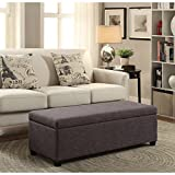 Upholstered Button Tufted, Fabric, Linen, or Leather Rectangular Storage Ottoman (Slate Gray)