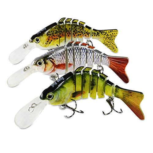 ROSE KULI Fishing Bass Lures for Swimbaits Multi Jointed Lifelike Crankbait 3 Pack Fishing Bait Tackle Kits