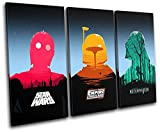 Bold Bloc Design - Star Wars Pop Art Movie Greats 150x100cm TREBLE Canvas Art Print Box Framed Picture Wall Hanging - Hand Made In The UK - Framed And Ready To Hang