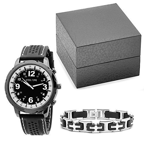 STEELTIME Men's Two Tone Stainless Steel Black Watch with Matching Bracelet Gift Set