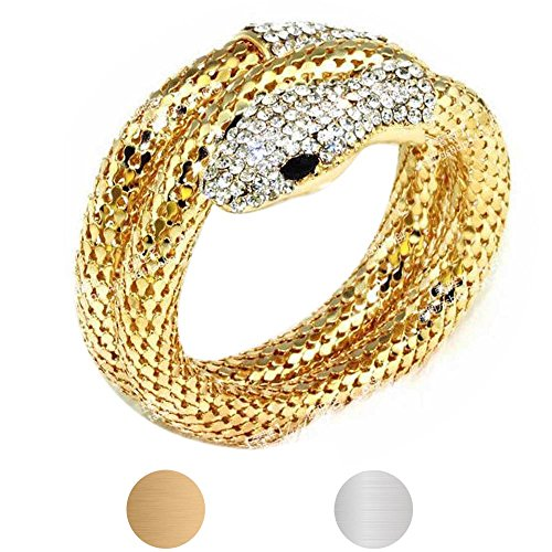 kitt Fashion Punk Rhinestone Bling Curved Stretch Snake Cuff Charm Jewelry Bangle Bracelet (Gold)