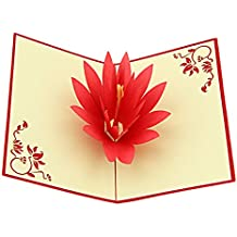 yepmax 3D Pop up Greeting Cards with Envelope for Thanksgiving Birthday Anniversary Christmas Lotus Flower 6 X 4 Inch