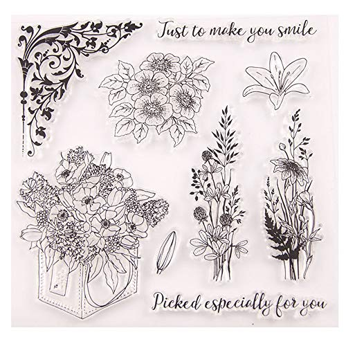 (Mother's Day Flowers Daisy Lily Corner Stamp Rubber Clear Stamp/Seal Scrapbook/Photo Album Decorative Card Making Clear)