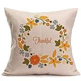 Thanksgiving Day Happy Fall Pillow Case Sofa Waist Throw Cushion Cover Home Decor 18 x 18 Inch 45 x 45 cm (I, 18''x18'' (Approx 45cm45cm))