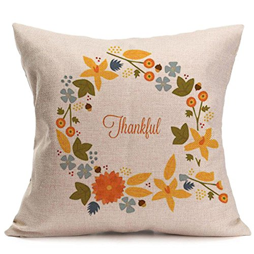 Thanksgiving Autumn Quote Throw Pillow Case Cushion Cover Decorative 18